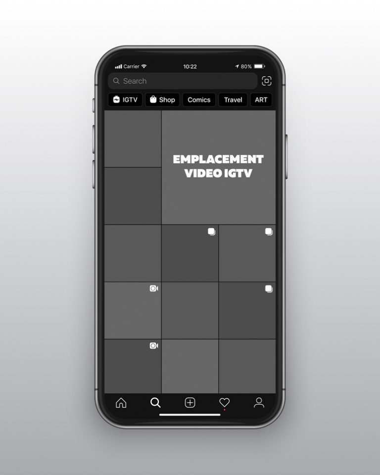 emplacement video IGTV page explorer